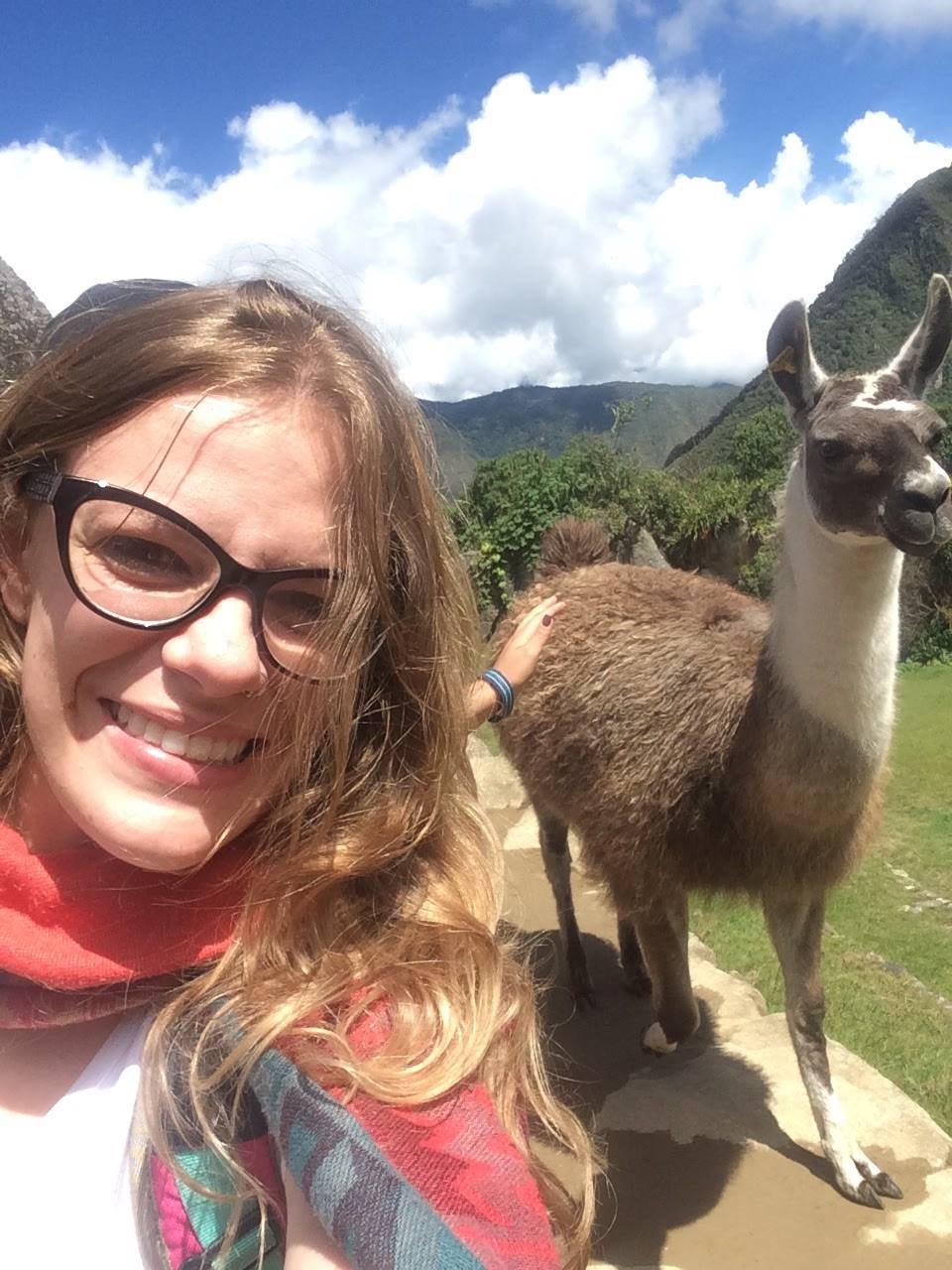 machu picchu selfie com lhama