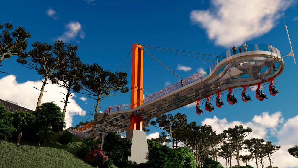 ponte de vidro suspensa no parque