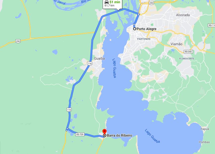 imagem google maps trecho entre porto alegre e barra do ribeiro