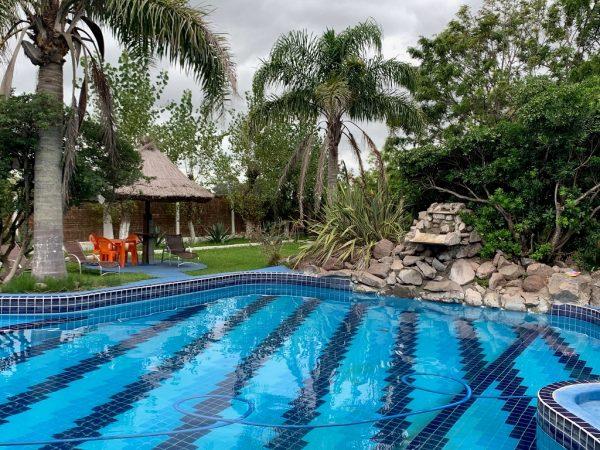 piscina com área verde, árvores e cadeiras ao fundo
