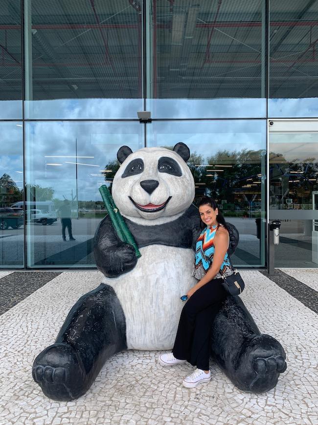 entrada do Panda Freeshop, com a escultura de um panda