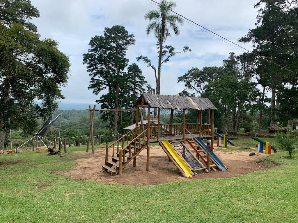playground ao ar livre, com grama e árvores ao fundo