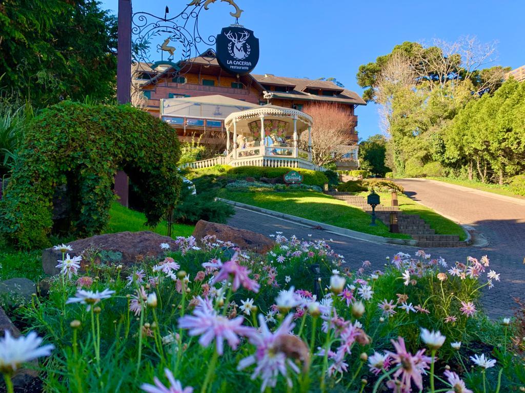 flores, árvores e uma pequena estrada que leva até o restaurante do hotel Casa da Montanha